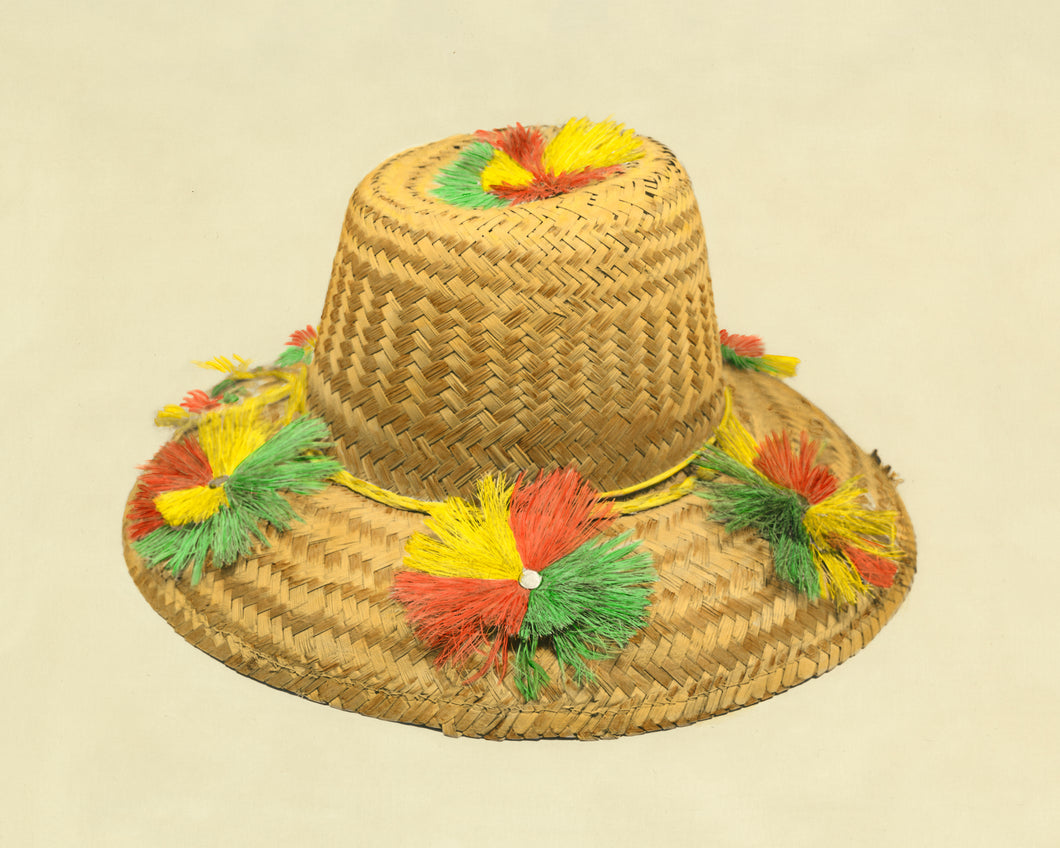 Beach-Nik Vintage Straw Sun Hat Artwork