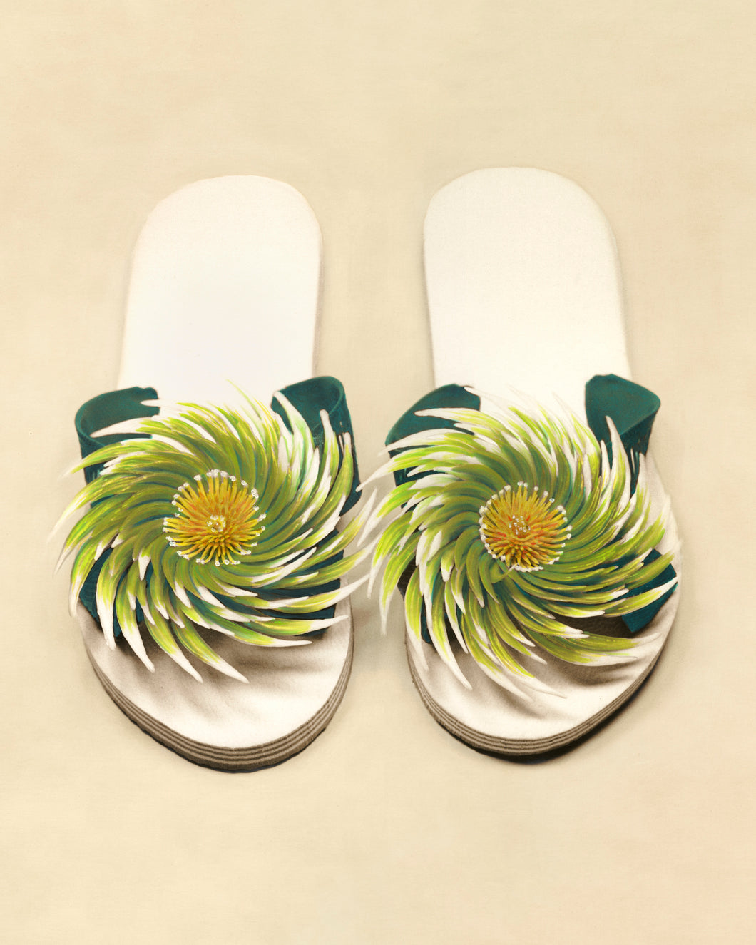 Swirl Flowered Vintage Flip Flops Artwork