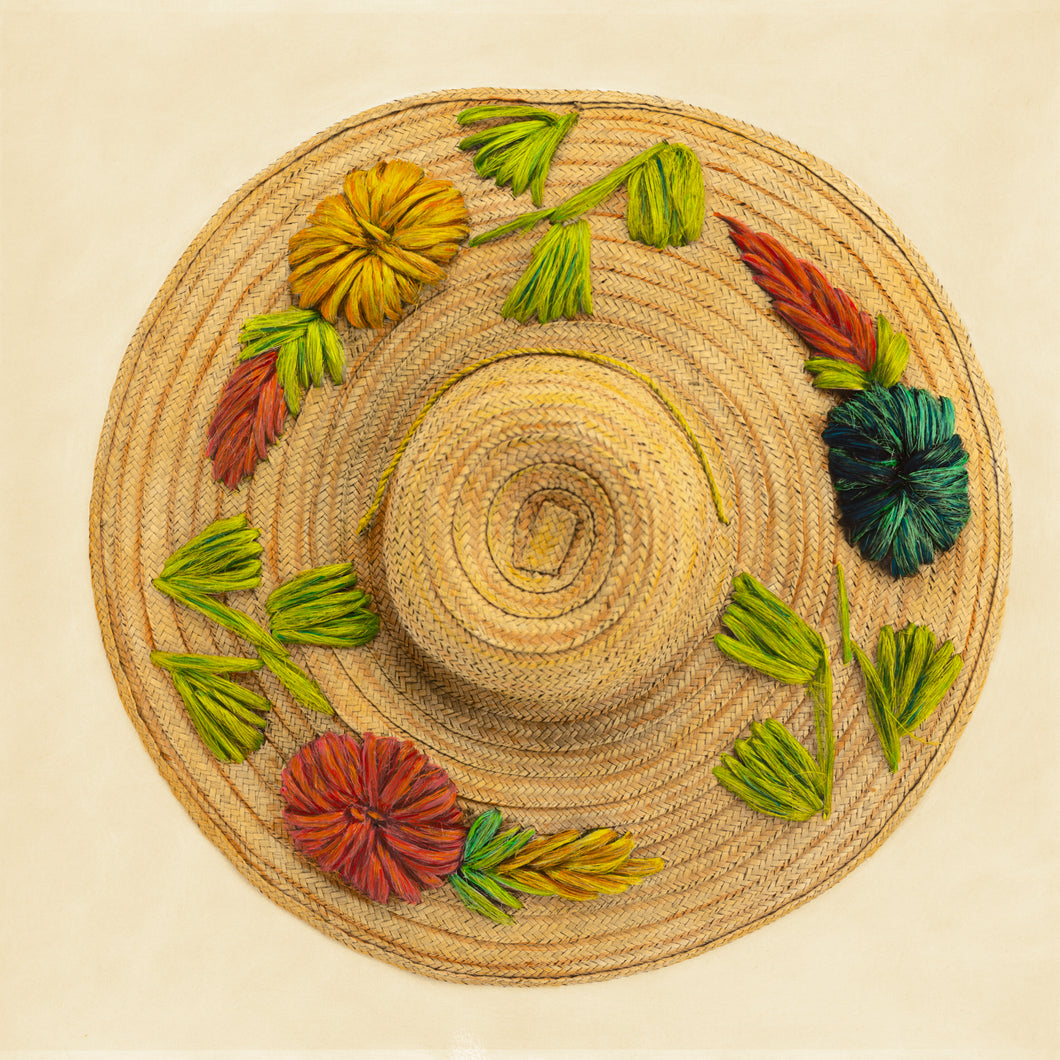 Flowered  Straw and Raffia Sun Hat Artwork