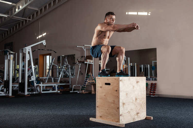 Box jumping in the gym