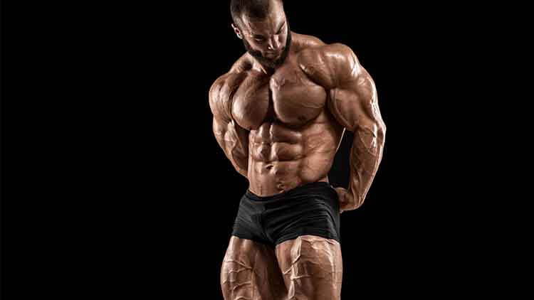 Bodybuilder man isolated on the black background. Strong male naked torso abs