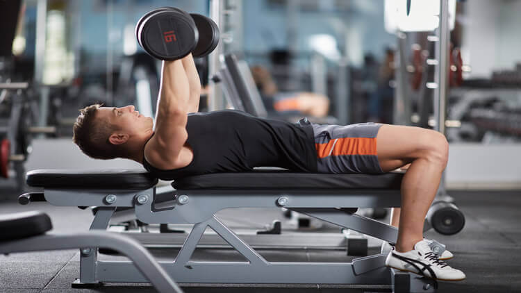 chest workout on a bench