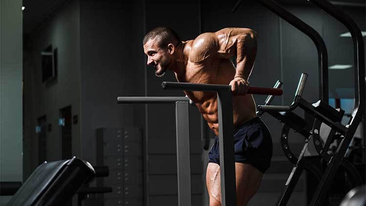 Muscular bodybuilder working out in gym doing triceps exercises on parallel bars