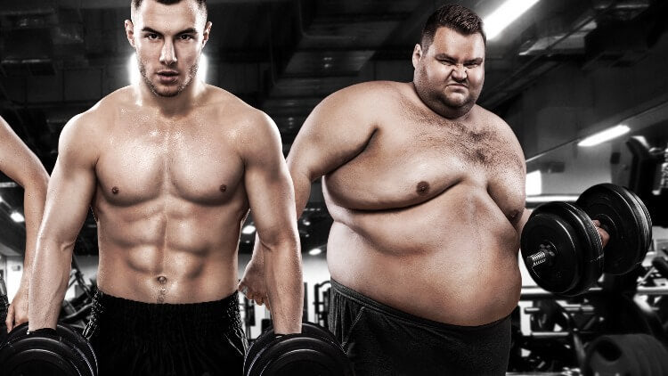 Overweight man lifting weights next to muscular man in gym