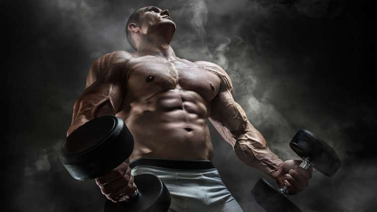 shirtless muscular man holding weights in both of his hands, posing on a dark smokey background