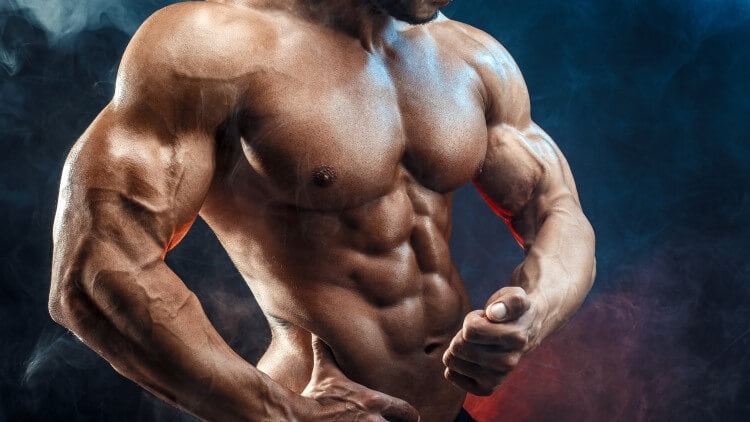 Bodybuilder with great abs flexing