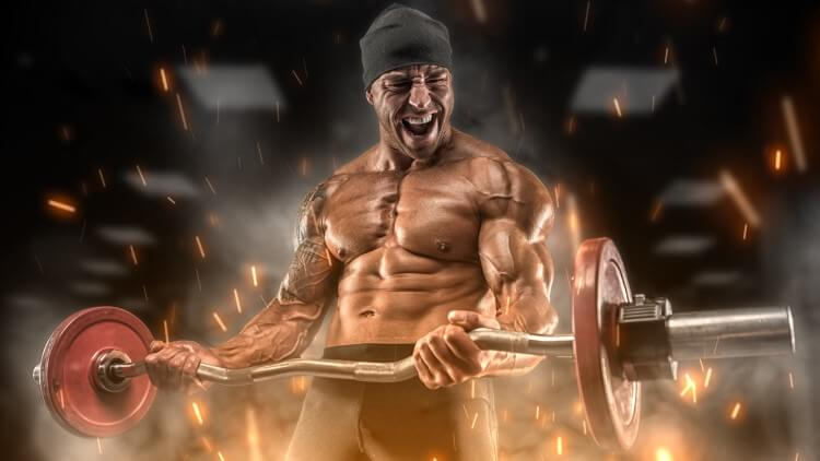 Weight lifter surrounded by fire embers