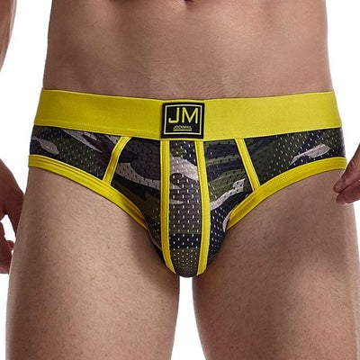 MESH CAMO BRIEFS YELLOW - OH MY SLIP