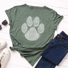 Load image into Gallery viewer, Paw Print - Women's Summer Cotton T Shirt