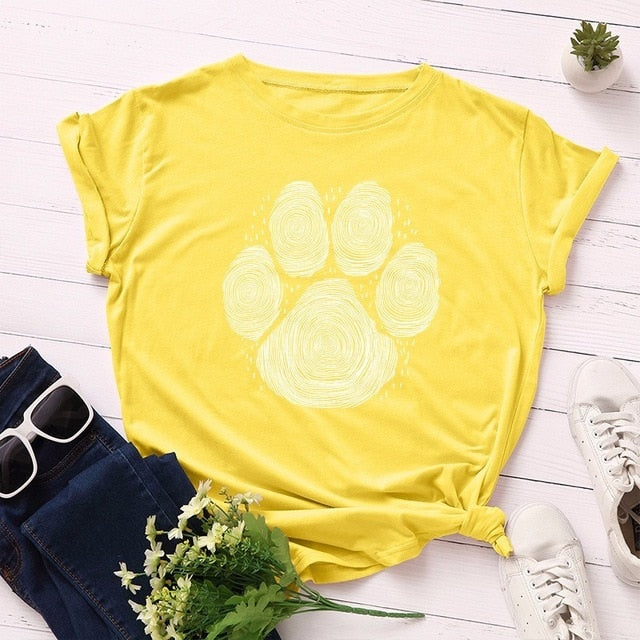 Paw Print - Women's Summer Cotton T Shirt