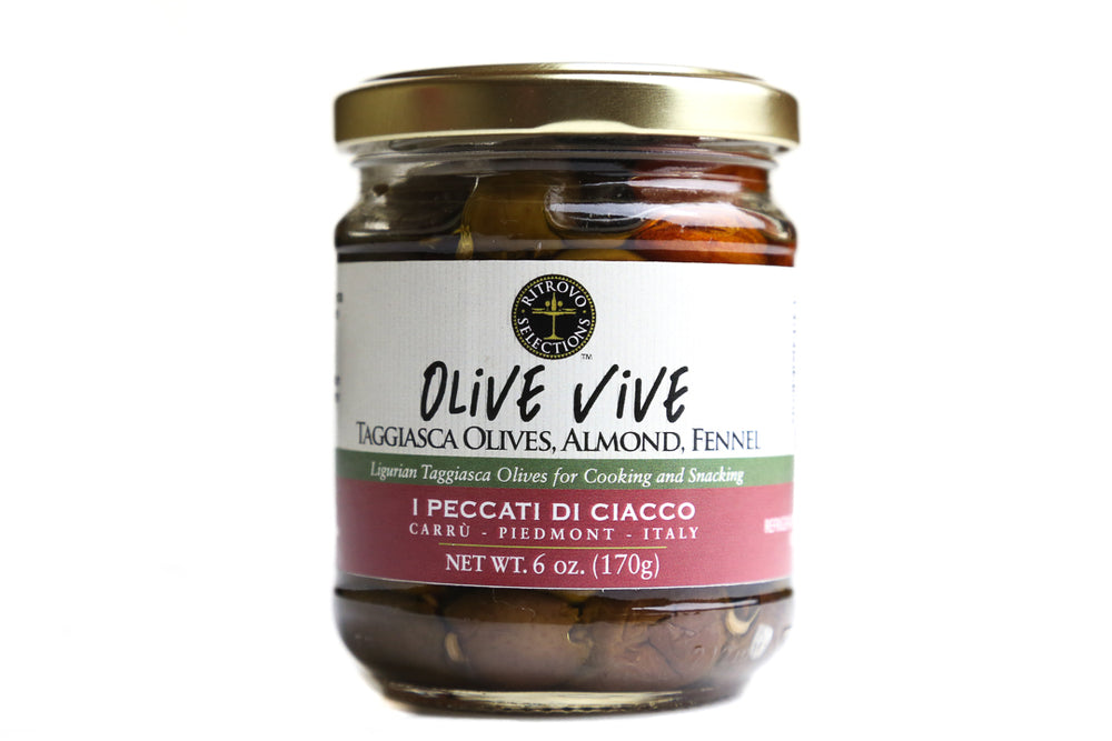 ANTIPASTO, OLIVE VIVE, TAGGIASCA OLIVES WITH ALMONDS, 170 g/6 oz