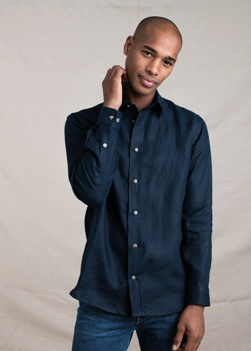 Midnight Heavy Linen Signature Shirt