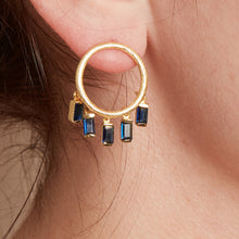 Load image into Gallery viewer, London Blue Topaz Gold Circle Drop Earrings