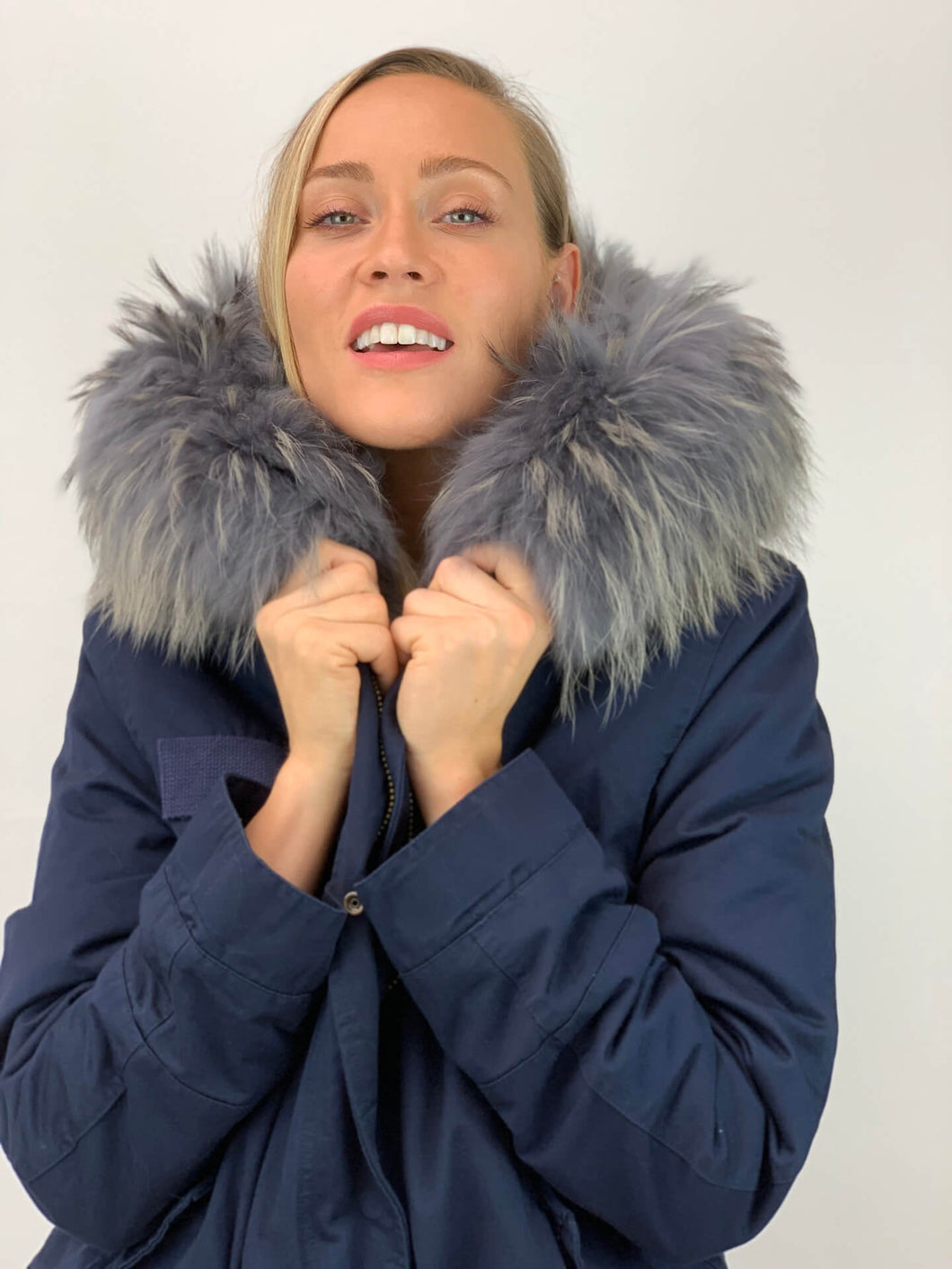 Parka Coat with Grey Faux Fur Lining and Faux or Raccoon Collar