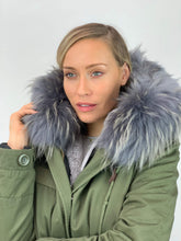 Load image into Gallery viewer, Parka Coat with Grey Faux Fur Lining and Faux or Raccoon Collar
