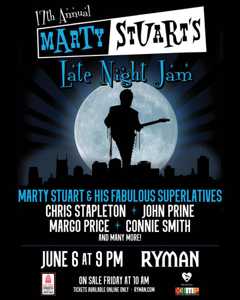 "MARTY STUART ANNOUNCES ""LATE NIGHT JAM"" LINE UP INCLUDING MARGO PRICE, JOHN PRINE, CONNIE SMITH, CHRIS STAPLETON VIA ROLLING STONE COUNTRY"