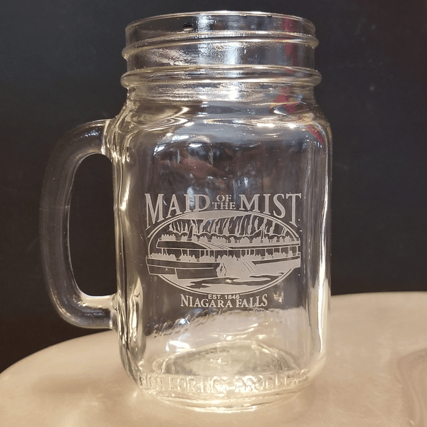 Custom Carved Glass Mason Jar With Handle