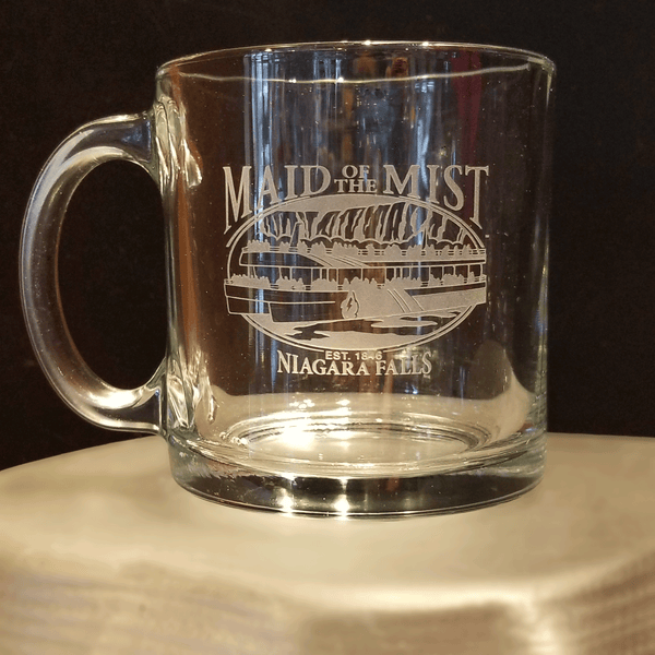 Custom Carved Glass Warm Beverage Mug