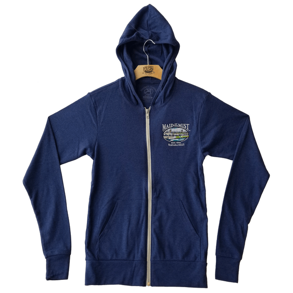 Pasadena Adult  Full Zip Long Sleeve Hooded Navy T-Shirt
