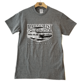 Distressed Print Adult Short Sleeve  Heather Graphite T-Shirt