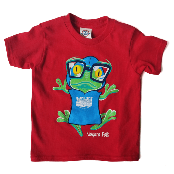 Poncho-Wearing Frog Toddler Short Sleeve Red T-Shirt
