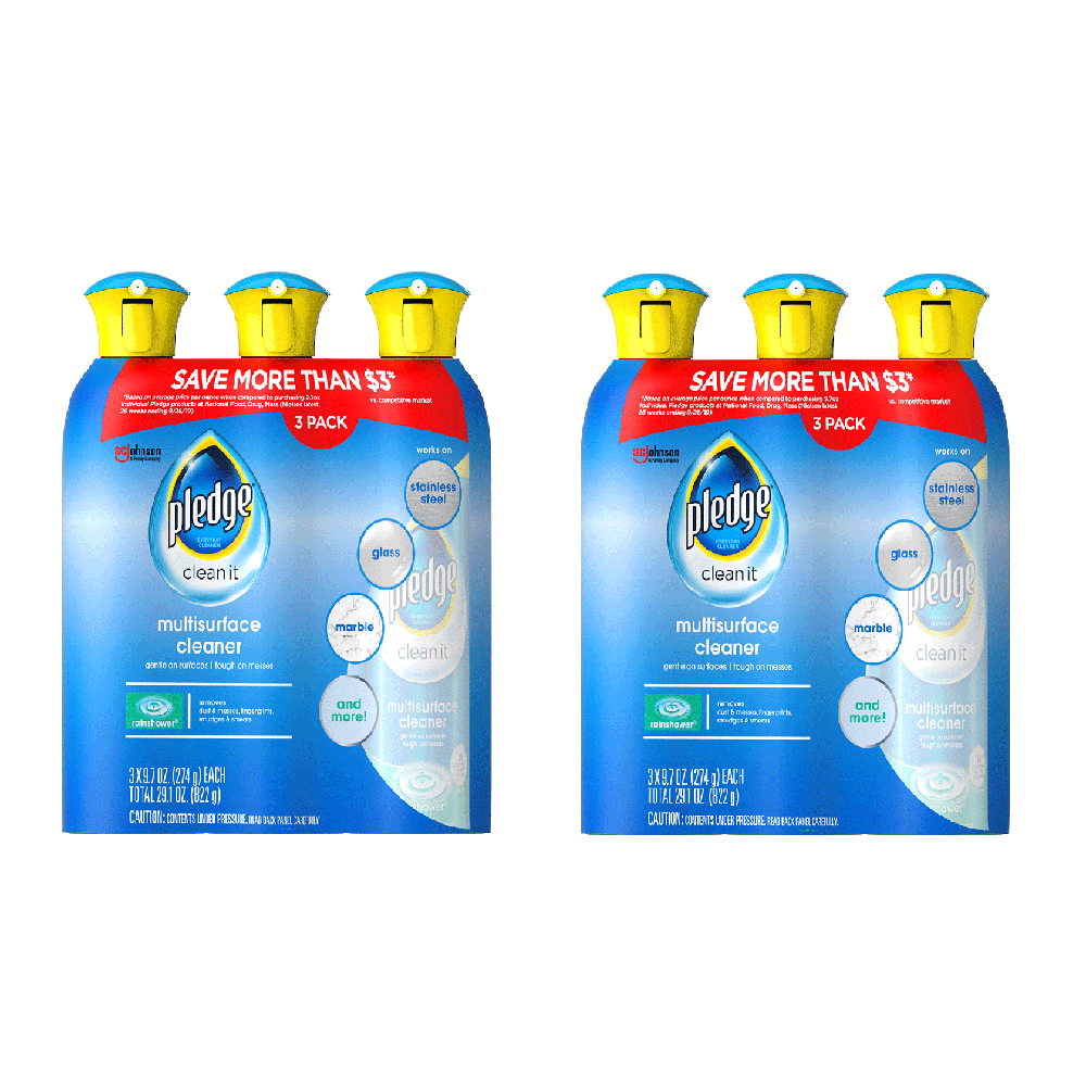 2 Pack of Pledge Multisurface Cleaner, Choose Scent (3 PK - 9.7 OZ Each)