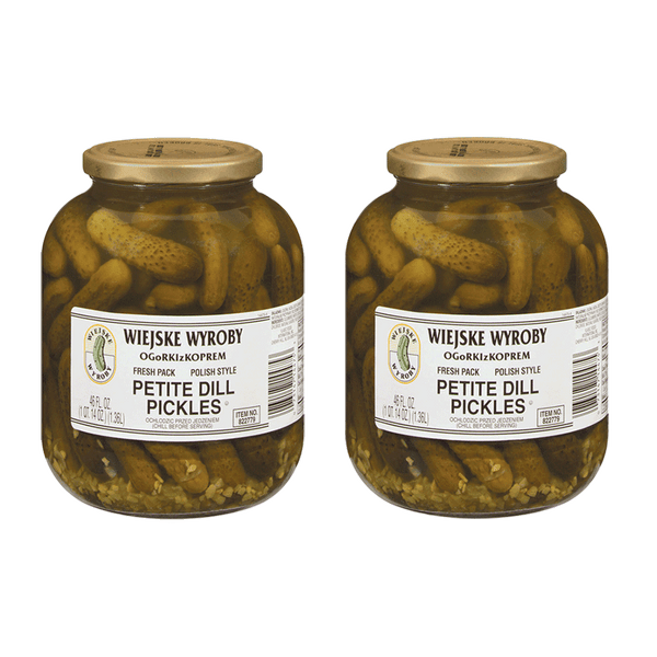 Wiejske Wyroby Petite Dill Pickles (2 Jars - 46 OZ Each)