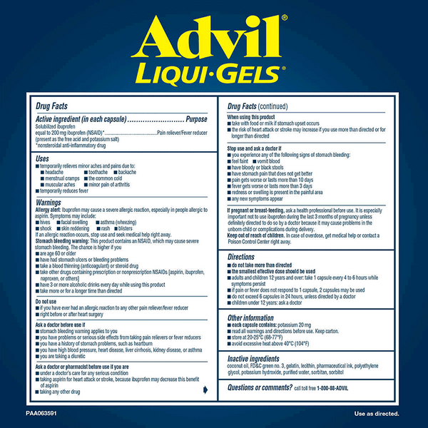 Advil Liqui-Gels Ibuprofen Pain Reliever/Fever Reducer Capsules (2 PK - 120 ct. each - 200 mg)
