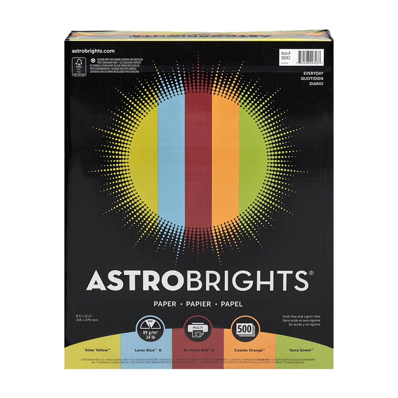 "Astrobrights Color Paper ""Everyday"" 5-Color Assortment (500 Sheets -24 lb. -8.5"" x 11"")"