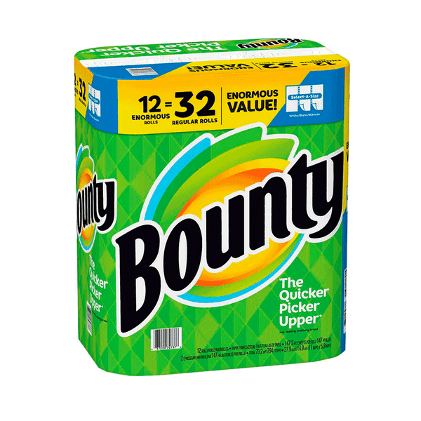 Bounty Select-A-Size Paper Towels - White (12 Enormous Rolls = 32 Regular Rolls)