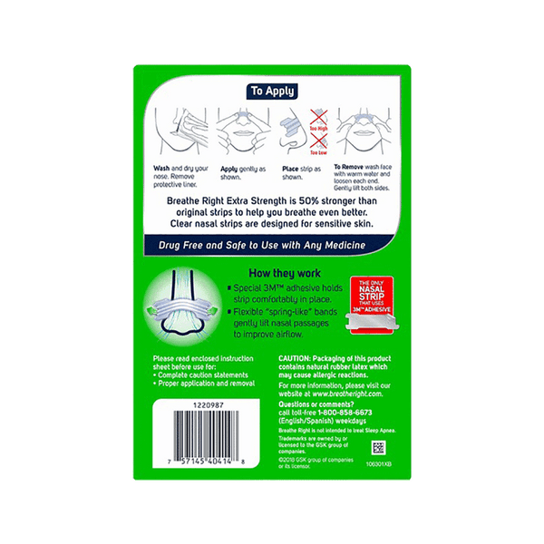 Breathe Right Extra Strength Nasal Strips - Clear (72 ct.)