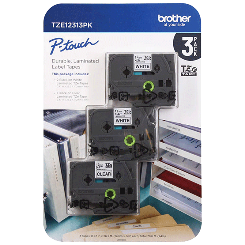 Brother P-Touch TZe1231 Laminated Tape for Brother Label Makers (3 PK)