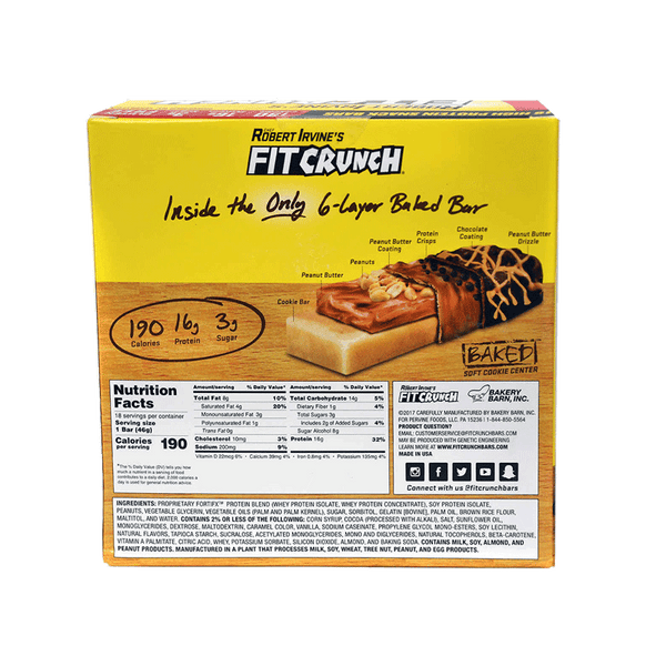 Chef Robert Irvine's Fit Crunch Chocolate Peanut Butter Whey Protein Bars (18 ct.)