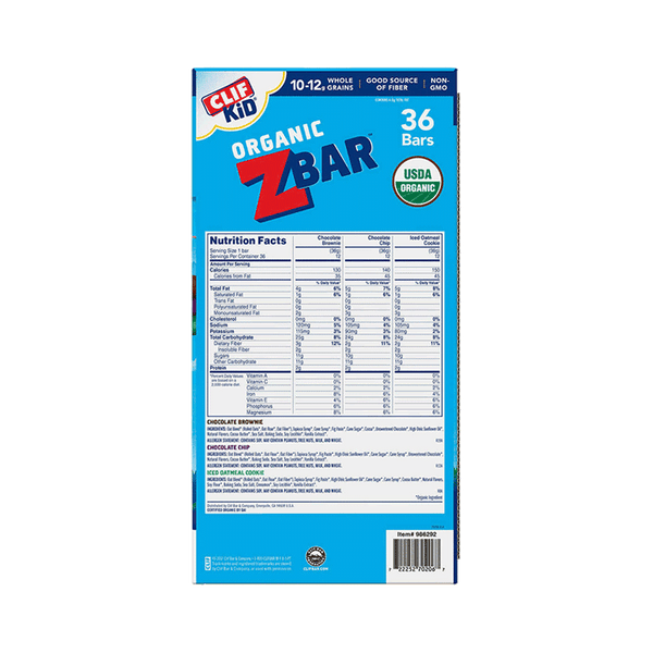 Clif Kid Organic Zbar Variety Pack (36 ct. - 1.27 OZ)