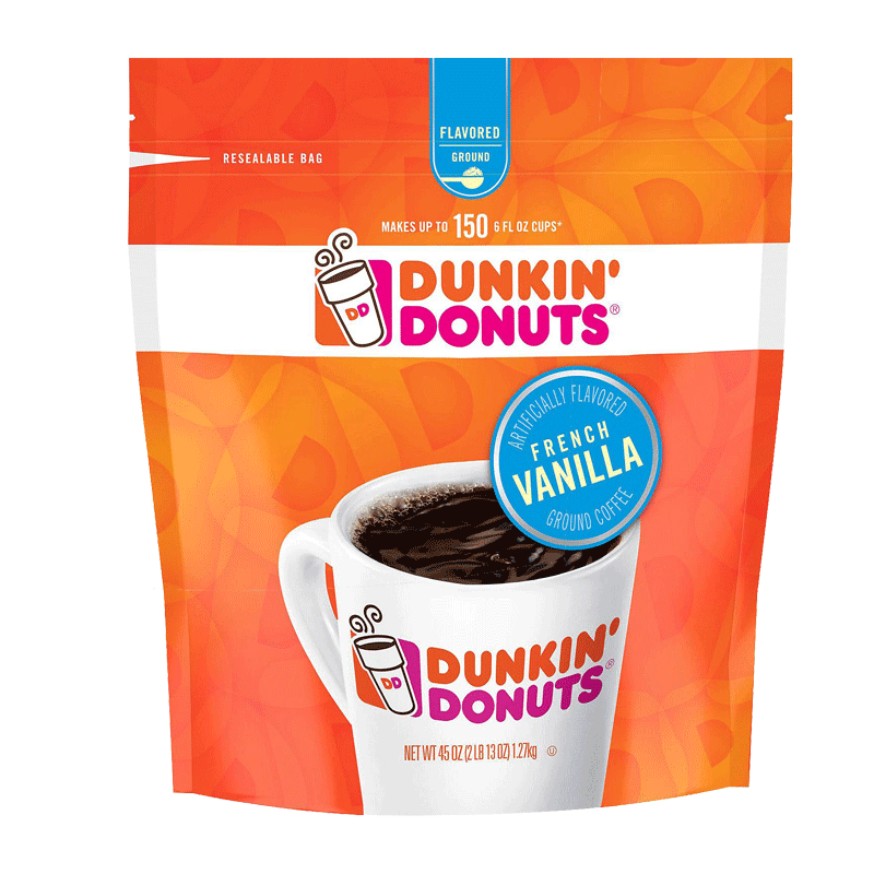 Dunkin' Donuts French Vanilla Blend Ground Coffee, Medium Roast (45 OZ)
