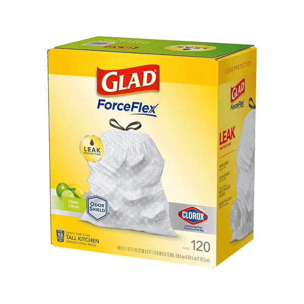 Glad 13 Gallon ForceFlex Tall Kitchen Drawstring Trash Bags