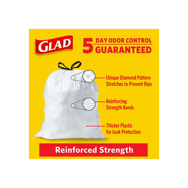 Glad Tall Kitchen Drawstring Plastic Trash Bags White (150 ct. - 13 gal.)