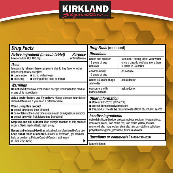 Kirkland Signature Aller-Fex Tablets (180 ct. - 180 mg)