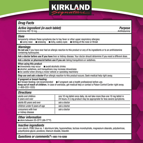 Kirkland Signature Aller-Tec 10 mg Tablets (365 ct)