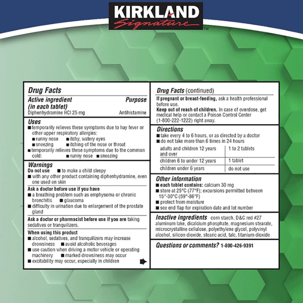 Kirkland Signature Allergy Medicine (600 ct - 25 mg)