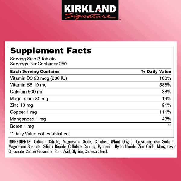 Kirkland Signature Calcium Citrate Magnesium and Zinc Tablets (500 ct.)
