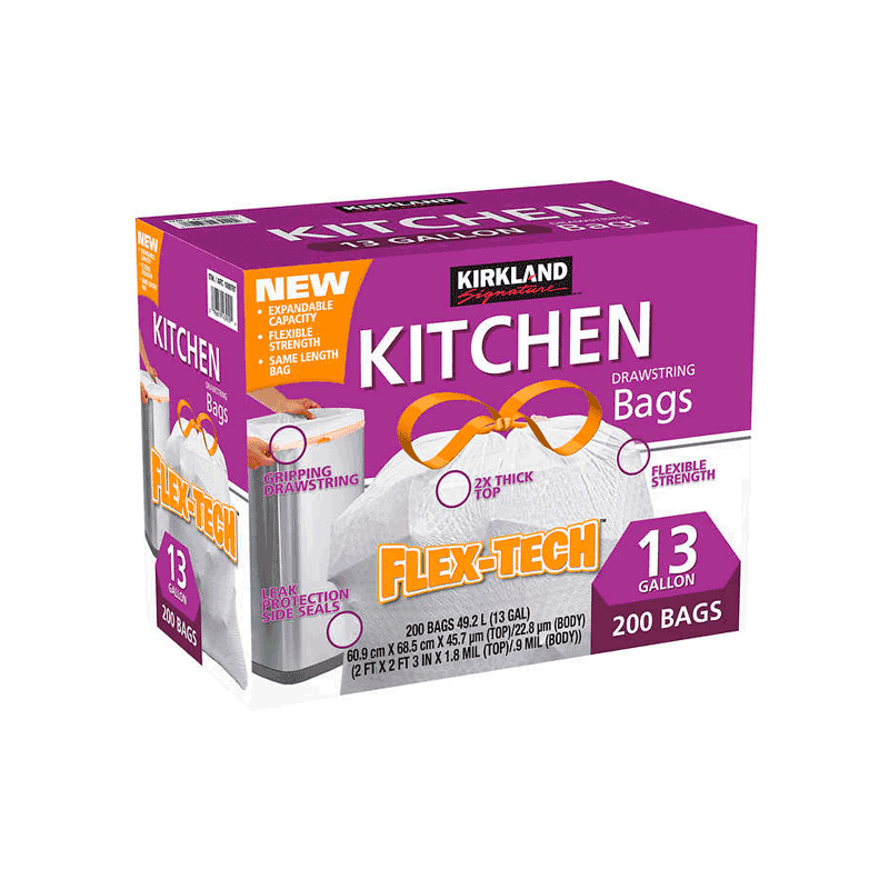 Kirkland Signature Flex-Tech Kitchen Trash Bag (200 ct. - 13 gal.)