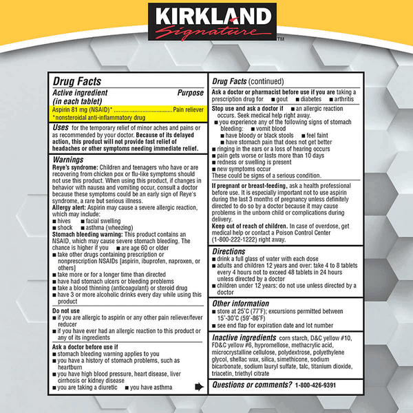 Kirkland Signature Low Dose Aspirin Tablets (2 PK - 365 ct. - 81 mg.)