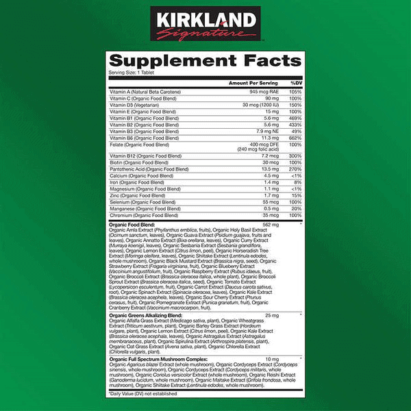 Kirkland Signature Organic Multivitamin Tablets (80 ct.)