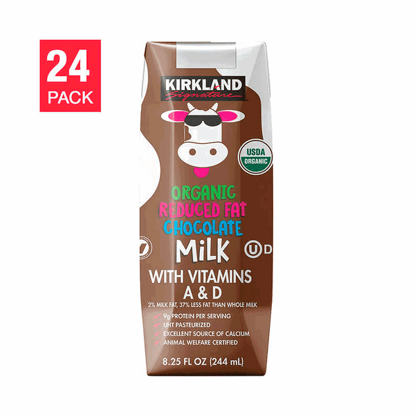 Kirkland Signature Organic Reduced Fat Chocolate Milk (24 PK - 8.25 FL OZ)