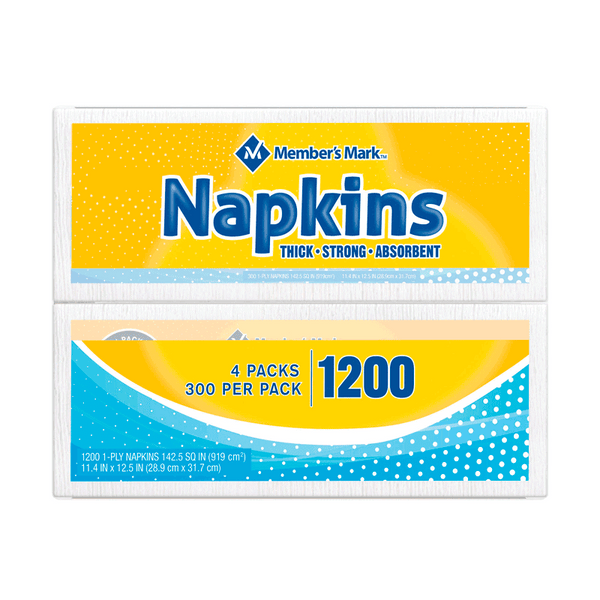 Member's Mark 1-Ply Everyday White Napkins (1200 ct. - 11.4