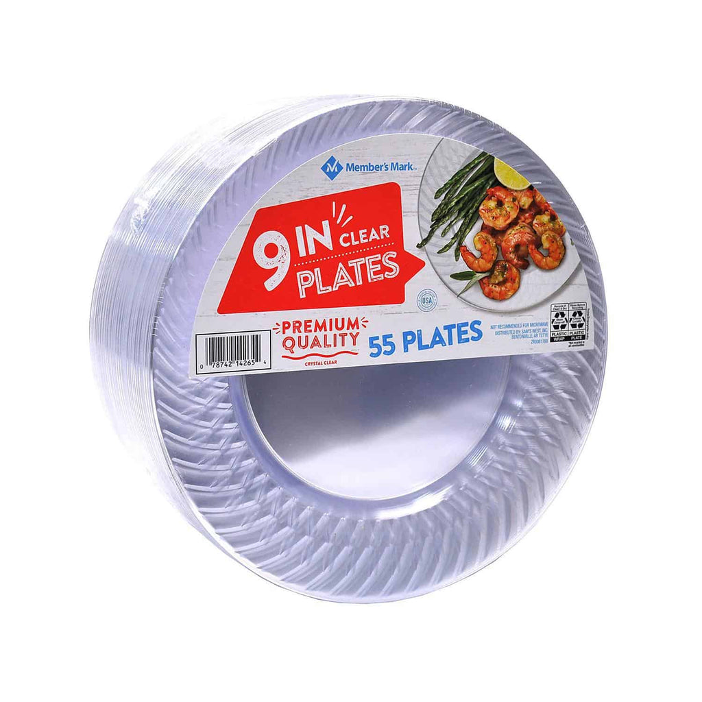 "Member's Mark Clear Plastic Plates (55 ct. - 9"" )"