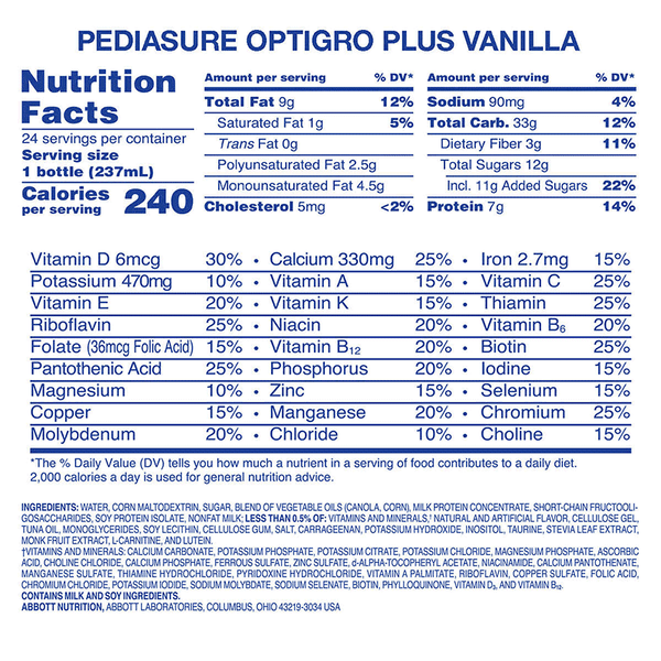 Pediasure Optigro Vanilla Kids Shake (24 PK - 8 FL.OZ)
