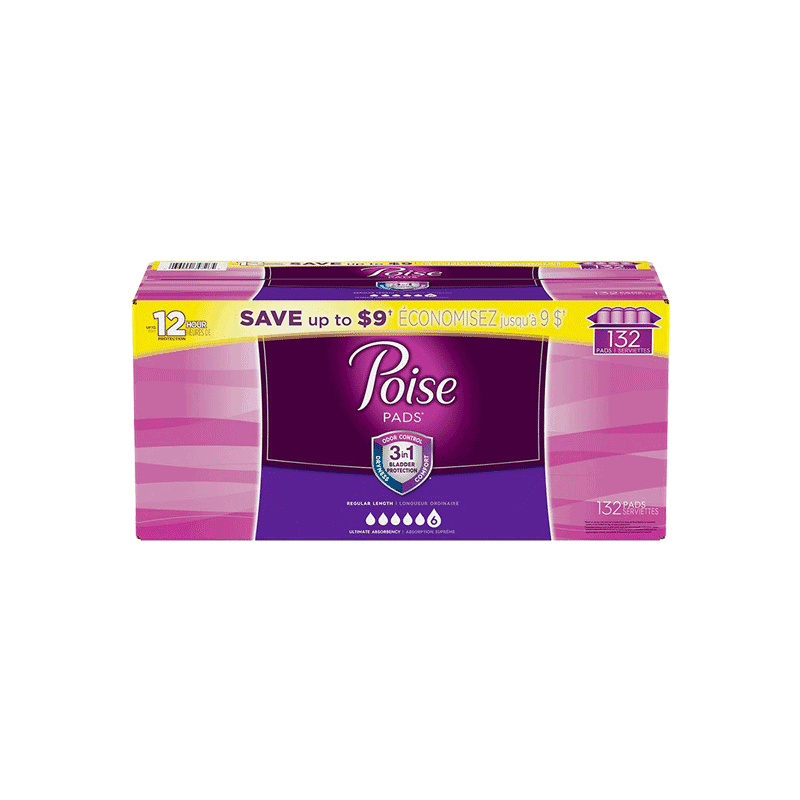 Poise Ultimate Absorbency Incontinence Overnight Pads (132 ct.)