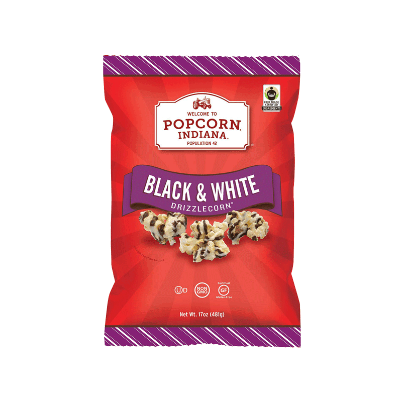 Popcorn - Indiana Drizzled Black and White Kettlecorn (17 OZ)